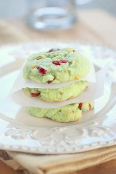 Cran-pistachio cookies 1 pouch Betty Crocker Sugar Cookie Mix 1 box serving size) pistachio instant pudding and pie filling mix cup flour cup butter, melted 2 eggs 1 cup dry roasted salted pistachio nuts, chopped cup dried cranberries, chopped Holiday Baking, Christmas Baking, Christmas Parties, Diy Christmas, Christmas Treats, Christmas Candy, Christmas Colors, Christmas Desserts, Christmas Christmas