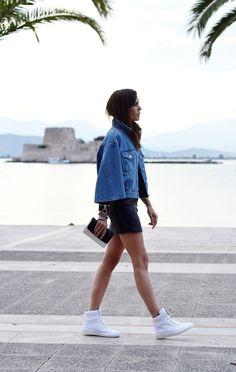 Acne denim jacket & leather mini skirt