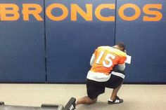 Broncos linebacker Von Miller gave the movement some legitimacy when he paused during a team practice to honor his quarterback and posted the photo on his Twitter feed.      Twitter/@MillerLite40 -
