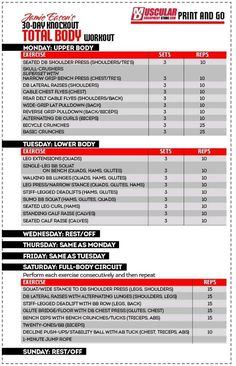 30 day weightlifting Challenge from Jamie Eason live fit. Print and Go! #Bodybuilding #muscle