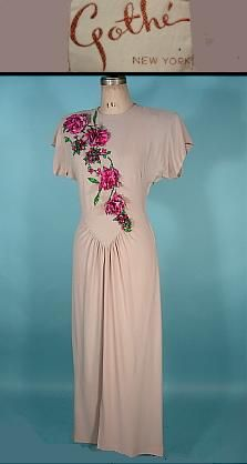 1940's GOTHE, New York Taupe Crepe Gown with Sequined 3-Dimensional Flowers