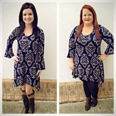 This piece you will want in your closet for sure! At only $48, this printed navy/taupe lightweight sweater can either be a top or a dress! We have it going back to brown but black will work as well! Available S,M,L,1X! Open till 6!
