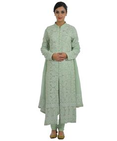 Sage Green Intricate Chikankari and Kamdani Jacket Suit With Dupatta Dress Indian Style, Indian Dresses, Panjabi Suit, Chikankari Suits, Green Suit, Work Suits, Indian Suits, Dress Designs, Wedding Suits