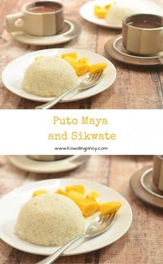 Puto Maya and Sikwate is a traditional Filipino breakfast or snack composed of a steamed sticky rice cake, juicy Manila mangoes and hot chocolate.