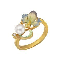 Masriera Art Nouveau 18k Gold & Enamel Orchid Band Ring