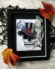 Smoking Skull, smoking Skeleton in Tophat Art, Halloween Decor, Skeleton Art, Quilling Paper Art