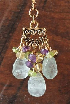 Multi Gemstone Cluster Earrings.Blue Aquamarine.Yellow