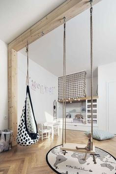 Modern children's room where the design of the bed makes the difference: 18 ideas - :Wohnen mit Kindern - Kids Playroom İdeas Swing Indoor, Indoor Jungle Gym, Indoor Playground, Playground Ideas, Kids Room Design, Playroom Design, Playroom Decor, Baby Design, Kids Bedroom Designs