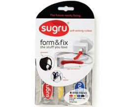 Sugru is a self-setting putty that bonds to just about any surface. It air cures into a flexible, waterproof, hot- and cold-resistant silicone rubber in 24 hours. Use it to repair everything from frayed computer cords and broken pot-lid handles
