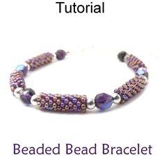 Free Easy Peyote Beaded Bead Bracelet Beading Pattern Tutorial PDF Instructions