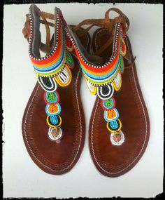 Maasai Leather Sandals by Sipdada on Etsy Beaded Shoes, Beaded Sandals, Bohemian Shoes, Bohemian Fashion, Festival Style, Festival Fashion, Shoe Designs, Morning Person, Sexy Heels