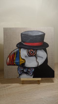 Monsieur Puffin canvas on mini easel by CornishConnectionArt on Etsy