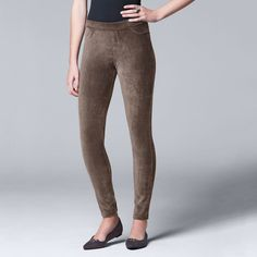 Simply Vera Vera Wang Women's Corduroy Leggings, Size: Medium, Grey Other