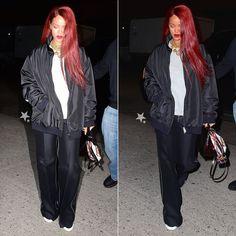 Rihanna wearing Sam MC London black big logo jacket