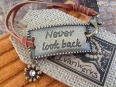 NeVeR LooK BaCk LeaTHeR BRaCeLeT/ bronze flower/ by Ivanwerks