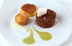 Frances Atkins's delightful délice is served with a crème caramel and apple fritters for a lip-smacking dessert
