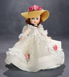 "Lot: Graceful and Romantic Alexander-Kins ""Cousin Grace"", 1957 Forever My Girl, Vintage Madame Alexander Dolls, Green Gown, Lace Socks, Taffeta Dress, Auburn Hair, Lace Ruffle, Velvet Ribbon, Flower Girl Dresses"