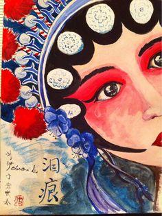 My newest painting, Peking opera face, by Christina Liu