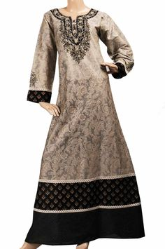 "aljalabiya.com: ""Silver Doll kaftan"" Cotton patterned abaya with embroidery (N-14110-19)  $89.00"
