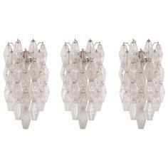 Set of Three Early Venini Polyhedral Glass Wall Lights by Carlo Scarpa Poliedri | 1stdibs.com