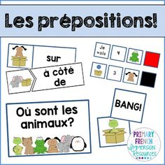 Teaching prepositions of place to French Immersion or Core French students! Study French, Core French, French Lessons, Spanish Lessons, How To Speak French, Learn French, Spanish Teaching Resources, French Resources, Spanish Activities