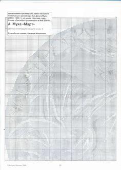 """Borduurpatroon Kruissteek """"De Maanden"""" van Alfons Mucha *Cross Stitch Pattern """"The Months"""" ~Maart 2/5~ Art Deco, Patterns, Crafts, Ideas, Women, Needlepoint, Block Prints, Patrones, Women's"""