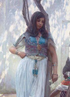 Em um pátio na Tunísia, de Ferdinand Max Bredt, 1921 (detalhe)
