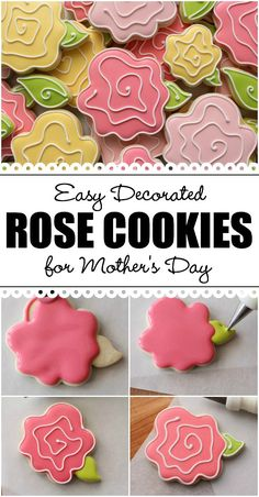 Sweet Sugarbelle - Easy Decorated Rose Cookies for Mother's Day. Make easy whimsical rose cookies in three easy steps! Flower Sugar Cookies, Rose Cookies, Mother's Day Cookies, Summer Cookies, Fancy Cookies, Iced Cookies, Easter Cookies, Royal Icing Cookies, Cupcake Cookies