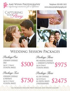 Wedding Photography Price List Session by PhotographTemplates
