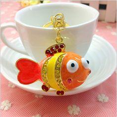 Novelty items fashion trinket gold plated fish keychain alloy crystal keyring creative charm women handbag bag key holder gift(China (Mainland))