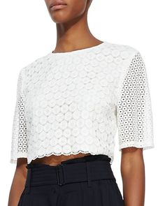 Short tops trending for 2014  Fremont Lace Crop Top by A.L.C. at Neiman Marcus.