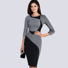 Cheap dress up shoes girls, Buy Quality dress pumps directly from China dress applique Suppliers: Fashion Vintage dress office Color block Round Neck Short/Long Sleeve Patchwork bodycon Tunic formal work Knee Length Dress Vestidos Vintage, Vintage Dresses, Tartan, Plaid, Plus Size Evening Gown, Evening Gowns, Evening Party, Work Dresses For Women, Clothes For Women