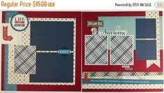 20% OFF TODAY Pre-made Boy Scrapbook Page Layout 2 by ArtsyAlbums