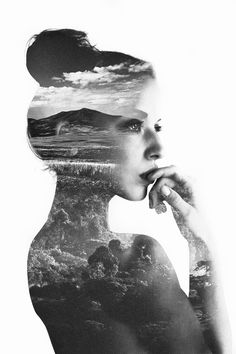 Unknown Artist-Double exposure photography. I think this double exposure is really beautiful and interesting.  This concept seems challenging.