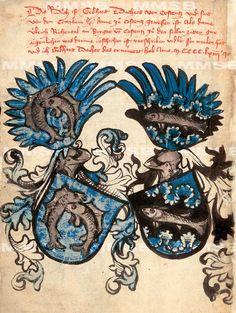«Wappenbuch Richental : Die Prager Handschrift» [Praha, Národní knihovna České republiky, Ms. XVI.A.17]. -- f°4v: armes de Gebhard Dacher (1425-1471, Coblenz, à gauche), l'un des chroniqueurs et de ??