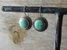 Vintage Earrings Sterling Silver Bezel Set by nonniesporch on Etsy, $20.00