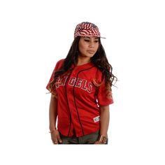 New Jack City Angels Baseball Jersey (1.630 CZK) ❤ liked on Polyvore featuring tops, collar top, baseball jersey top, vintage tops, red baseball jersey and baseball jerseys