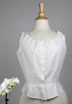 Antique Corset Cover in White Cotton Button Down Front with Eyelet Trim | www.SarahElizabethGallery.com