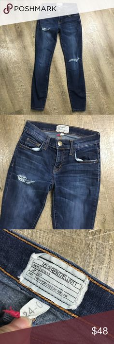 """Current Elliott The Stiletto Skinny Jeans Typhoon Typhoon destroy Size 24 Shows wear on seat of pants and waistband on back side  Approx 12.25"""" Waist Approx 7.5"""" Rise Approx 27"""" inseam Approx 10"""" leg opening Cotton elastane  No trades Current/Elliott Jeans Skinny"""