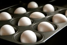 Baked hard-cooked eggs --       Place the eggs in a muffin tray so they do not move around, turn the oven to 325 degrees, pop in for about 25-30 minutes and remove!   ..Not only are they tastier, but they also are much easier to peel!