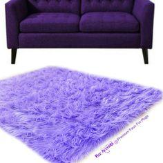 Shaggy Lavender Light Purple Area Rug Premium Faux Fur Plush Soft... ($120