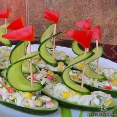 cucumber boats filled with salad