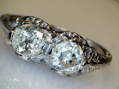 14K WHITE GOLD ANTIQUE LOVE 1.05 CT DIAMOND ROUND ENGAGEMENT RING