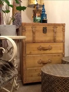 This rustic 3 drawer chest is great storage for any home style @Timeless Homes