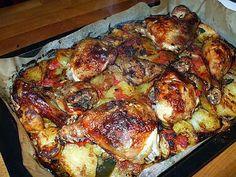 Recette de Poulet au four.... sur son lit de pommes de terre ...tomates......et citrons confits....