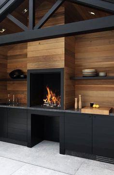 Outdoor Kitchen with Fireplace . Outdoor Kitchen with Fireplace . Küchen Design, House Design, Design Case, Garage Design, Blog Design, Rustic Design, Design Elements, Modern Design, Parrilla Exterior