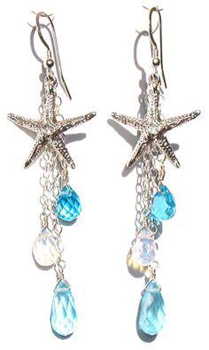 Statement Star Dangle Earrings- Star Jewelry/ Gold Star/ Starburst Drops/ Celestial Jewelry/ Astrology/ Sunburst/ Starlight/ Gifts for Her – Fine Jewelry Ideas nautical theme Sea Jewelry, Mermaid Jewelry, Jewelry Crafts, Gold Jewelry, Beaded Jewelry, Nautical Jewelry, Jewellery, Jewelry Ideas, Wedding Jewelry