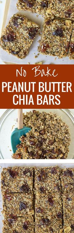Kids love these Healhty No Bake Peanut Butter Chia Granola Bars! A ...