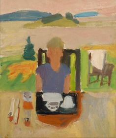 """""""Laurence at the Breakfast Table,"""" Fairfield Porter, 1953, oil on canvas, 15 3/4 x 18 3/4"""", Parrish Art Museum."""