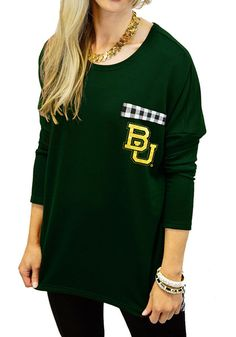 Baylor Bears women's oversized gingham long sleeved tee